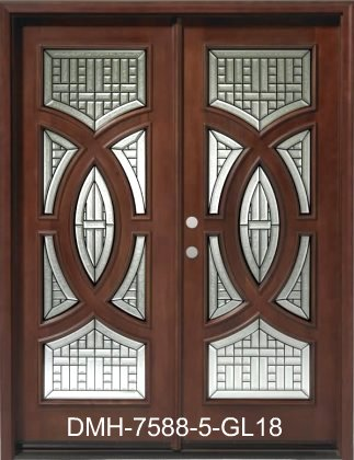 DMH-7588-5-GL18 Mahogany Double Circlular Deluxe Wood Entry Door